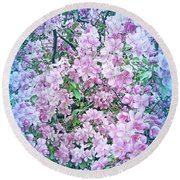 Cool Blue Apple Blossoms Round Beach Towel