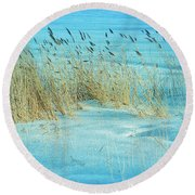 Cool Blue Blowing In The Wind Round Beach Towel