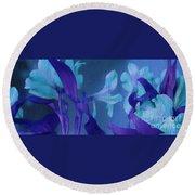 Cool Blue Lilies Round Beach Towel