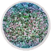 Cool Blue Pink Petals On Stones Round Beach Towel