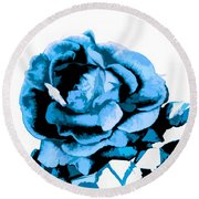 Cool Blue Rose Round Beach Towel