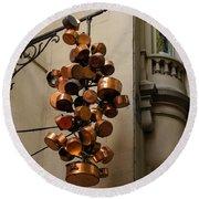 Cool Copper Pots - Parisian Restaurant Left Bank La Rive Gauche Round Beach Towel
