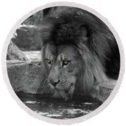 Cool Drink Of Water  Black And White  T O C Round Beach Towel