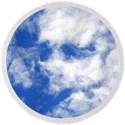 Cool Face In The Blue Sky Round Beach Towel