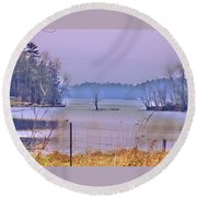Cool Morning In Vermont Round Beach Towel
