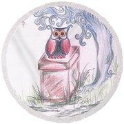 Cool Owl Round Beach Towel