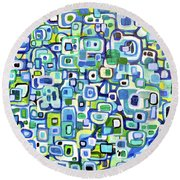 Cool Squares And Shapes Round Beach Towel