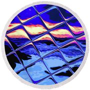 Cool Tile Reflection Round Beach Towel