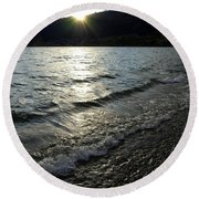 Cool Waters Sunset Round Beach Towel