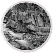 Coos Canyon Black And White Round Beach Towel