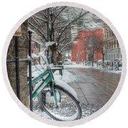 Copenhagen In The Winter.a Lonely Bike Round Beach Towel