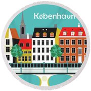 Copenhagen Kobenhavn Denmark Horizontal Scene Round Beach Towel