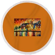 Copenhagen Original Oil Painting  Round Beach Towel