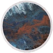 Copper Abstract 2 Round Beach Towel