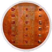Copper Abstract Round Beach Towel