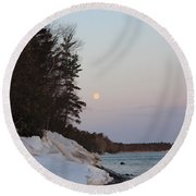 Copper Country Moonset Portrait Round Beach Towel
