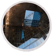 Copper Glass And Steel Geometry - Fabulous Modern Architecture In London U K Round Beach Towel