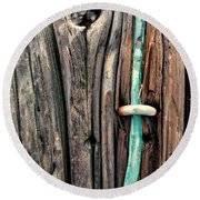 Copper Ground Wire And Knothole On Utility Pole Round Beach Towel