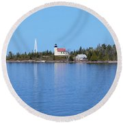 Copper Harbor Lighthouse Round Beach Towel