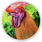 Copper Maran French Rooster Round Beach Towel