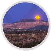 Copper Moon Rising Over The Santa Rita Round Beach Towel