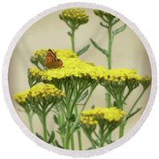 Copper On Yellow - Butterfly - Vignette 2 Round Beach Towel