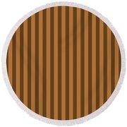 Copper Orange Striped Pattern Design Round Beach Towel