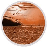 Copper Plate Sunrise Round Beach Towel