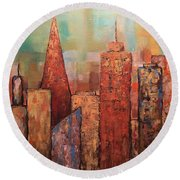 Copper Points, Cityscape Painting Round Beach Towel