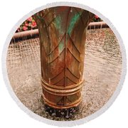 Copper Water Fountain Round Beach Towel