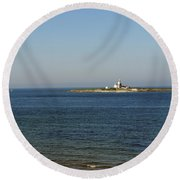 Coquet Island And Lighthouse Round Beach Towel