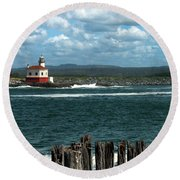 Coquille River Lighthouse Round Beach Towel
