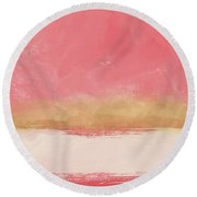 Coral And Gold Abstract 1- Art By Linda Woods Round Beach Towel