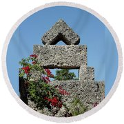 Coral Castle For Love Round Beach Towel
