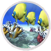 Coral Moods Round Beach Towel by Corey Ford
