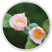 Coral Camellia 2 Round Beach Towel