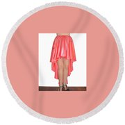 Coral Pink Satin High Low Skirt With High Slit. Ameynra Simple Line Round Beach Towel