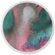 Coral, Turquoise, Teal Round Beach Towel by Julia Fine Art