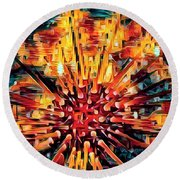 Corals Under The Sea Abstract Color Art Round Beach Towel