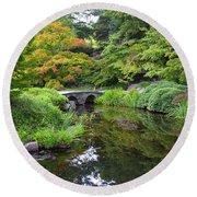 Corbel Arch Bridge Japanese Garden Maymont I Round Beach Towel