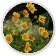Coreopsis Tickseed Round Beach Towel