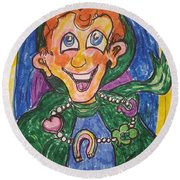 Corey The Lepperchaun Lucky Charms Round Beach Towel