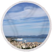 Corfu Town And Port With Cruiser Cityscape Round Beach Towel