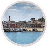 Corfu Town Port With Warehouses Round Beach Towel