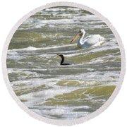Cormorant And Pelican Round Beach Towel
