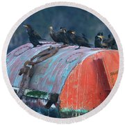 Cormorants On A Barrel Round Beach Towel