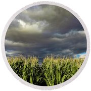 Corn Field Beform Storm Round Beach Towel