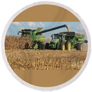 Corn Harvest Round Beach Towel