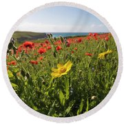 Corn Marigold And Poppies Round Beach Towel