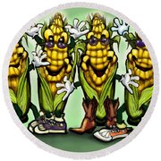 Corn Party Round Beach Towel
